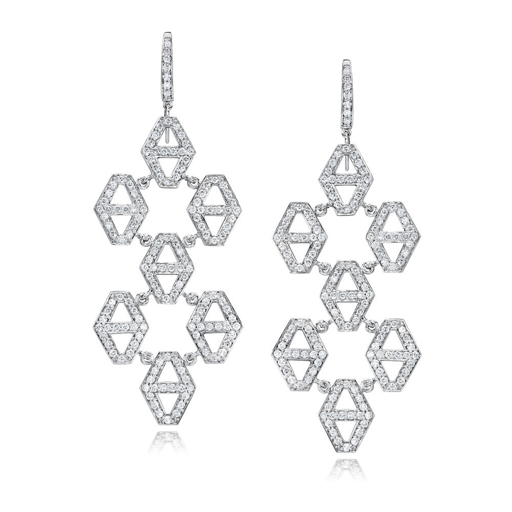 KEYNES 18K AND DIAMOND SEVEN DROP HEXAGON EARRINGS
