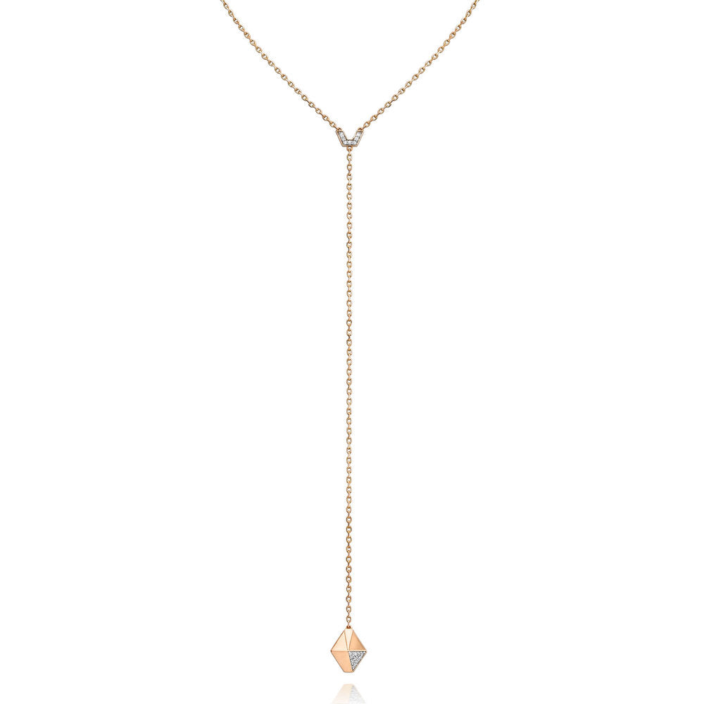 SYDNEY 18K ROSE GOLD DIAMOND ORIGAMI DROP