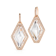 BELL 18K DIAMOND HEXAGON WITH ROCK CRYSTAL EARRINGS