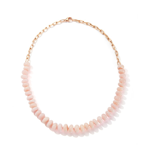 SAXON ONE OF A KIND 18K ROSE GOLD CHAIN LINK AND GRADUATING PINK OPAL BEAD NECKLACE