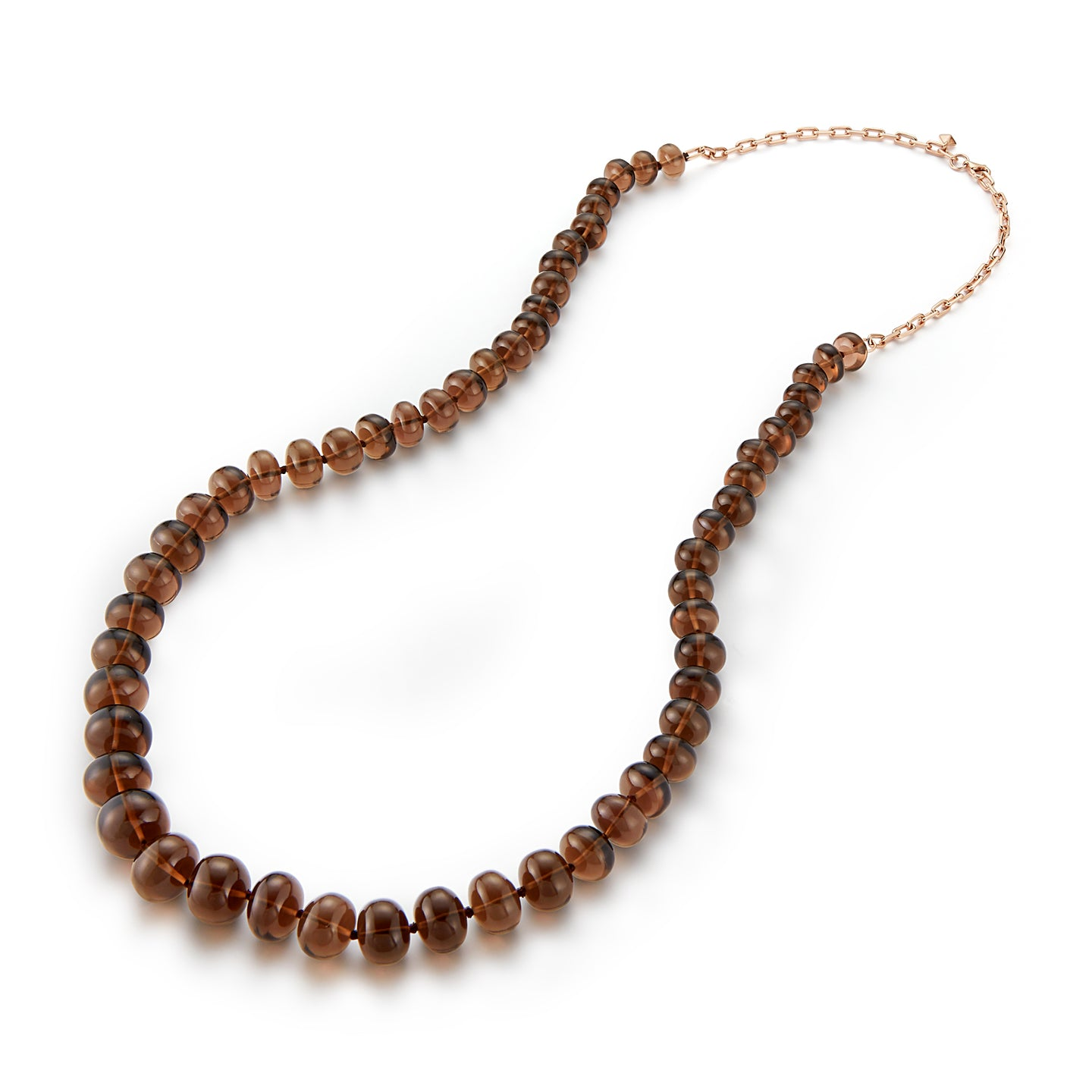 SAXON ONE OF A KIND 18K CHAIN AND SMOKY TOPAZ BEAD NECKLACE