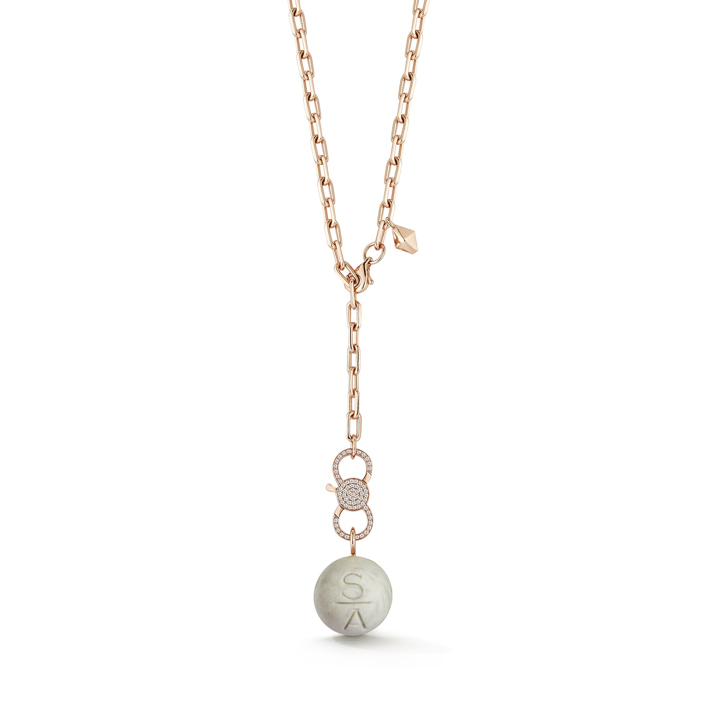 CW x WF 18K ROSE GOLD MARBLE BEAD AND DIAMOND ENHANCER CHARM NECKLACE