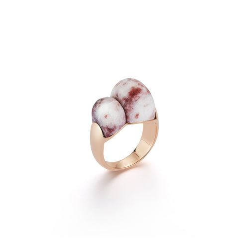 CW X WF 18K ROSE GOLD AND MARBLE BOMBE RING