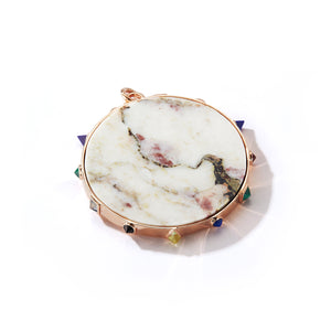 CW x WF 18K ROSE GOLD MARBLE AND SEMI PRECIOUS STONE PENDANT