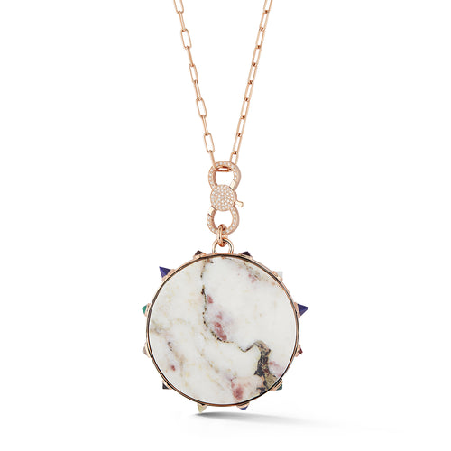 CW x WF 18K ROSE GOLD MARBLE AND SEMI PRECIOUS STONE PENDANT WITH DIAMOND ENHANCER CHAIN NECKLACE