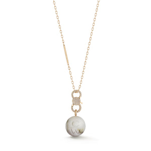 CW x WF 18K ROSE GOLD MARBLE BEAD AND DIAMOND ENHANCER ON 2.1MM CHAIN NECKLACE