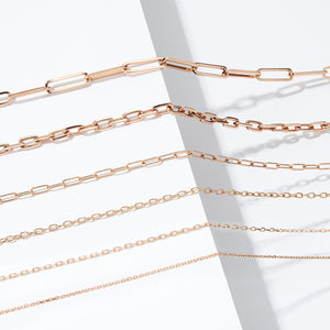 CHAIN 2 - 18K ROSE GOLD CHAIN LINK NECKLACE - 1.5mm