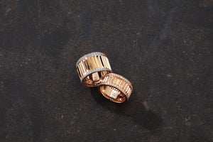 CLIVE 18K ROSE GOLD & DIAMOND 10MM FLUTED BAND RING