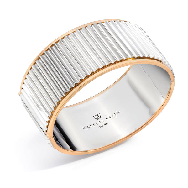 CLIVE TWO TONE HINGED FLUTED HINGED BANGLE