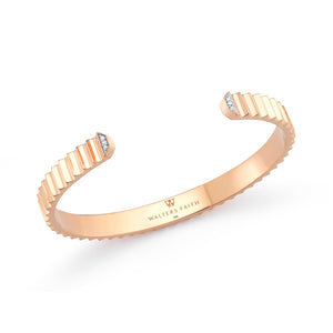 CLIVE 18K & DIAMOND 5MM WIDE FLUTED CUFF