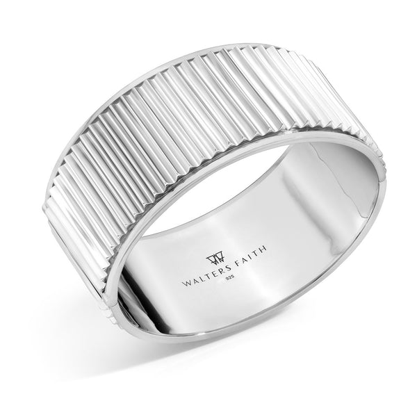 CLIVE STERLING SILVER HINGED FLUTED BANGLE