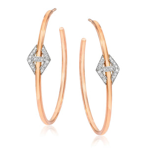 KEYNES TWO TONE DIAMOND HEXAGON PASS-THROUGH HOOP EARRINGS
