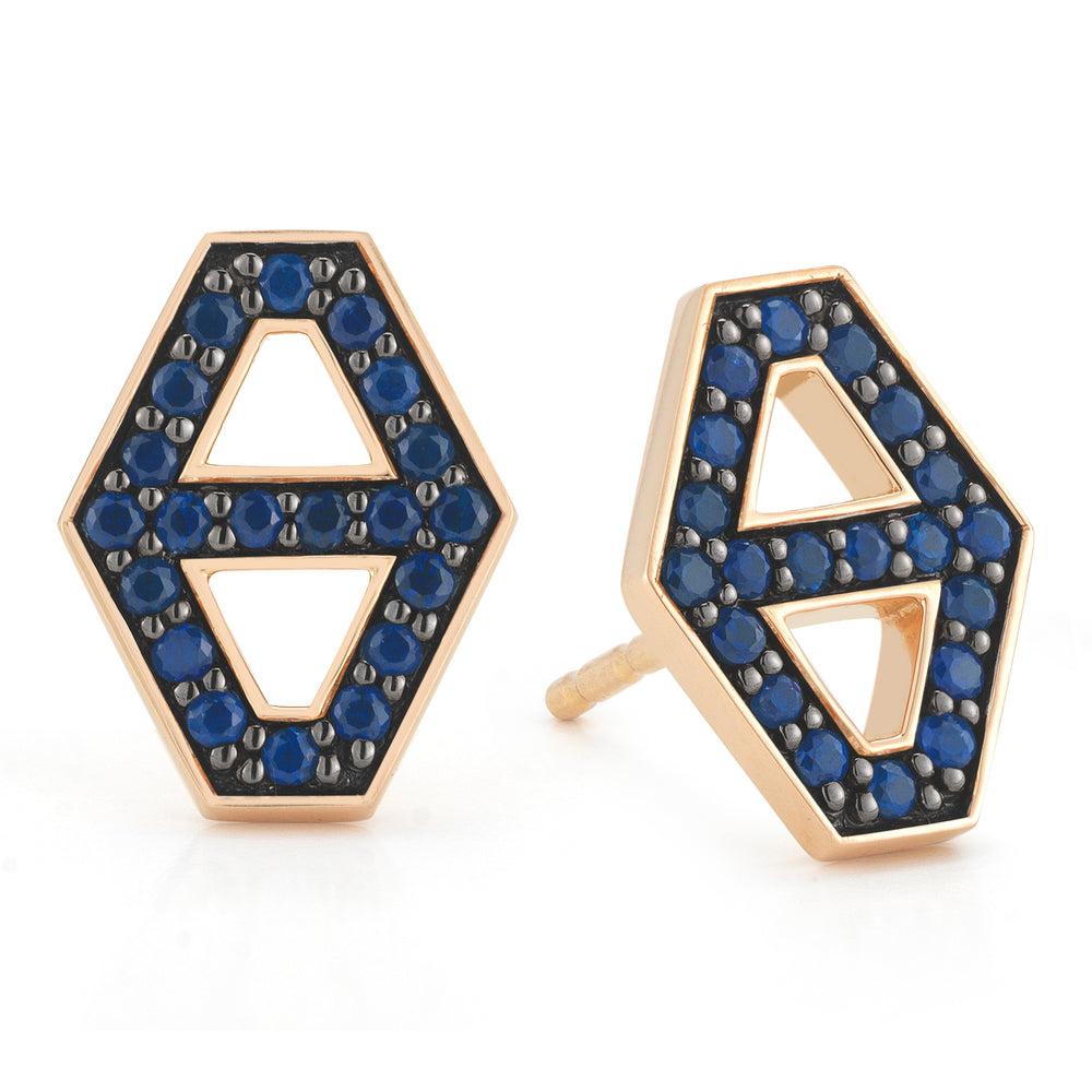 KEYNES 18K SMALL SIGNATURE HEXAGON SAPPHIRE STUD EARRINGS