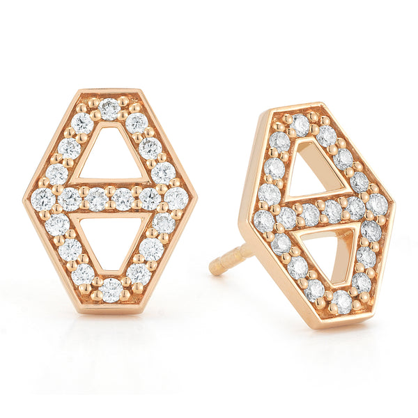 KEYNES 18K SMALL SIGNATURE HEXAGON DIAMOND STUD EARRINGS