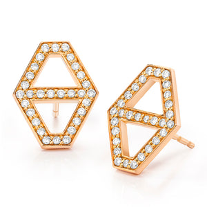 KEYNES 18K MEDIUM SIGNATURE HEXAGON DIAMOND STUD EARRINGS