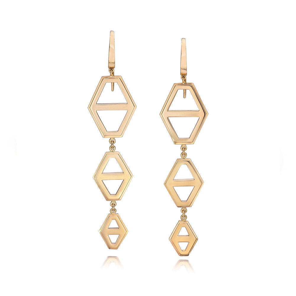 KEYNES 18K THREE DROP SIGNATURE HEXAGON EARRINGS