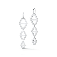 KEYNES STERLING SILVER THREE DROP SIGNATURE HEXAGON EARRINGS
