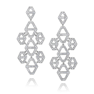 KEYNES 18K DIAMOND SIGNATURE HEXAGON CHANDELIER EARRINGS