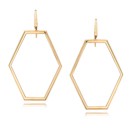 KEYNES 18K ROSE GOLD LARGE OPEN HEXAGON EARRING