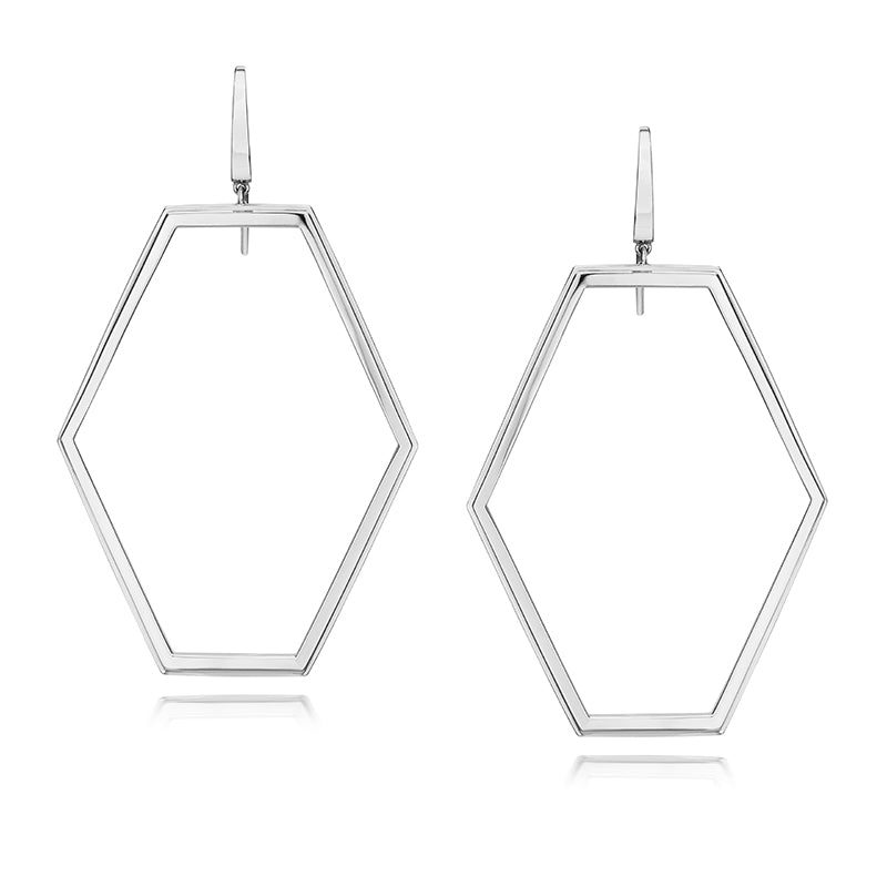 KEYNES STERLING SILVER LARGE HEXAGON MOTIF EARRING