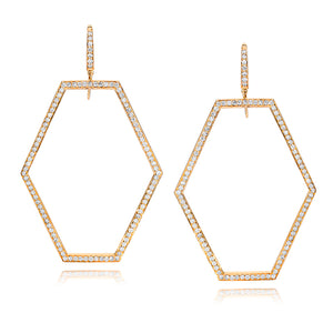 KEYNES 18K GOLD LARGE OPEN HEXAGON DIAMOND EARRINGS