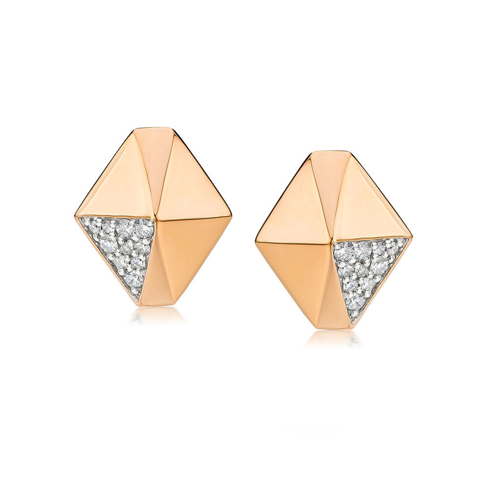 SYDNEY 18K DIAMOND ORIGAMI STUD EARRINGS