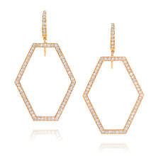 KEYNES 18K GOLD SMALL OPEN HEXAGON DIAMOND EARRINGS