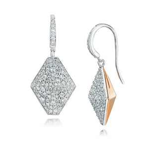 SYDNEY 18K and DIAMOND ORIGAMI DROP EARRINGS