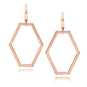 KEYNES 18K ROSE GOLD SMALL OPEN HEXAGON EARRINGS