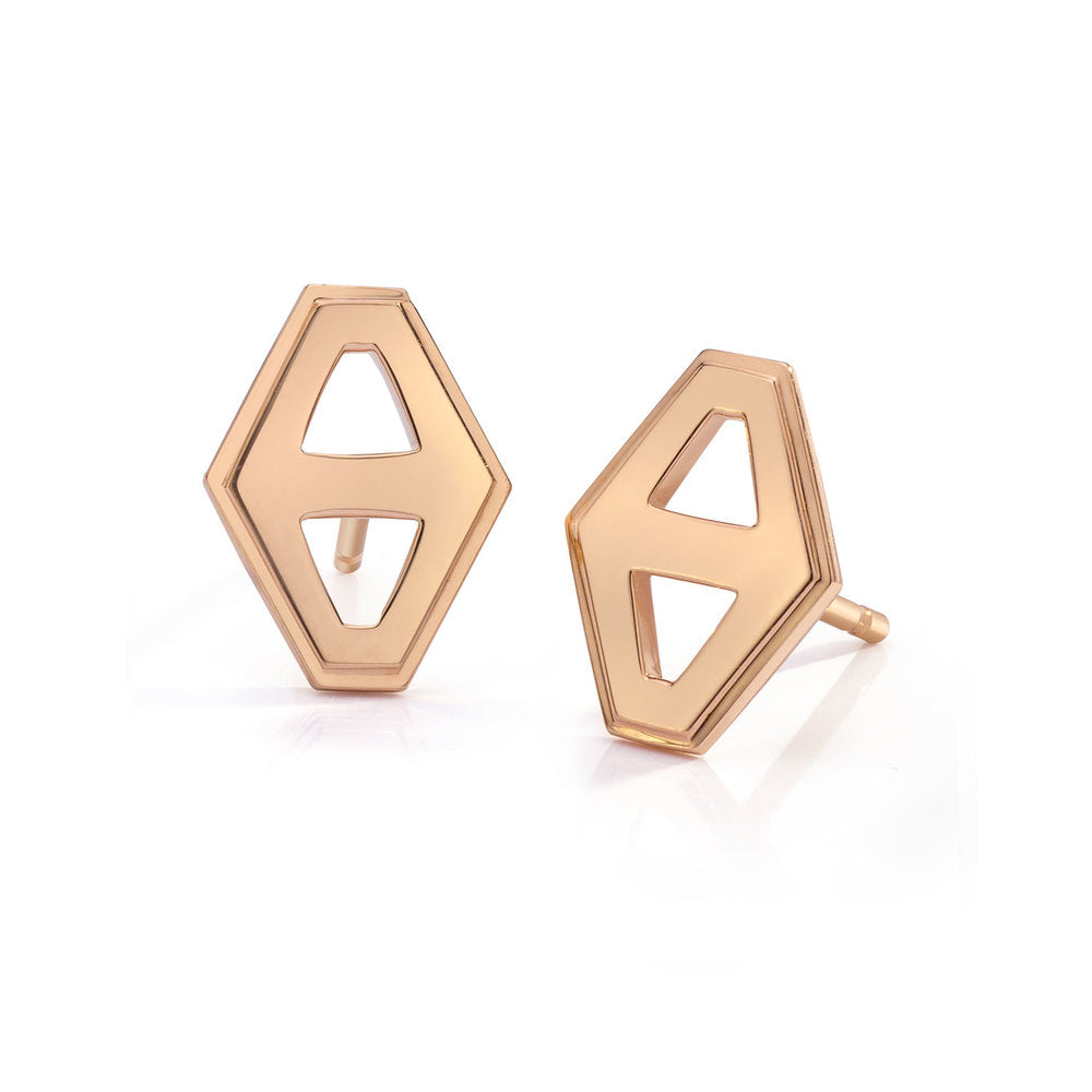 KEYNES 18K SIGNATURE SMALL HEXAGON STUD EARRINGS
