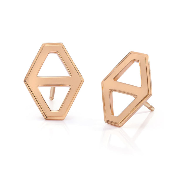 KEYNES 18K MEDIUM SIGNATURE HEXAGON STUD EARRINGS
