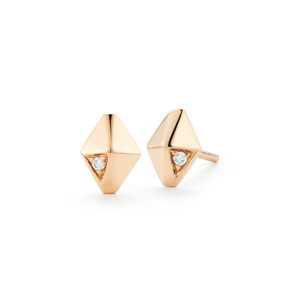 SYDNEY 18K AND DIAMOND MINI ORIGAMI STUD EARRINGS