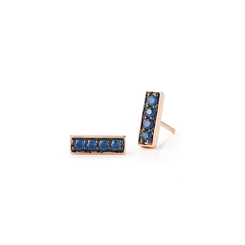 Grant 18K Rose and Sapphire Mini Bar Studs
