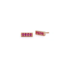 GRANT 18K ROSE GOLD AND SAPPHIRE MINI BAR STUDS