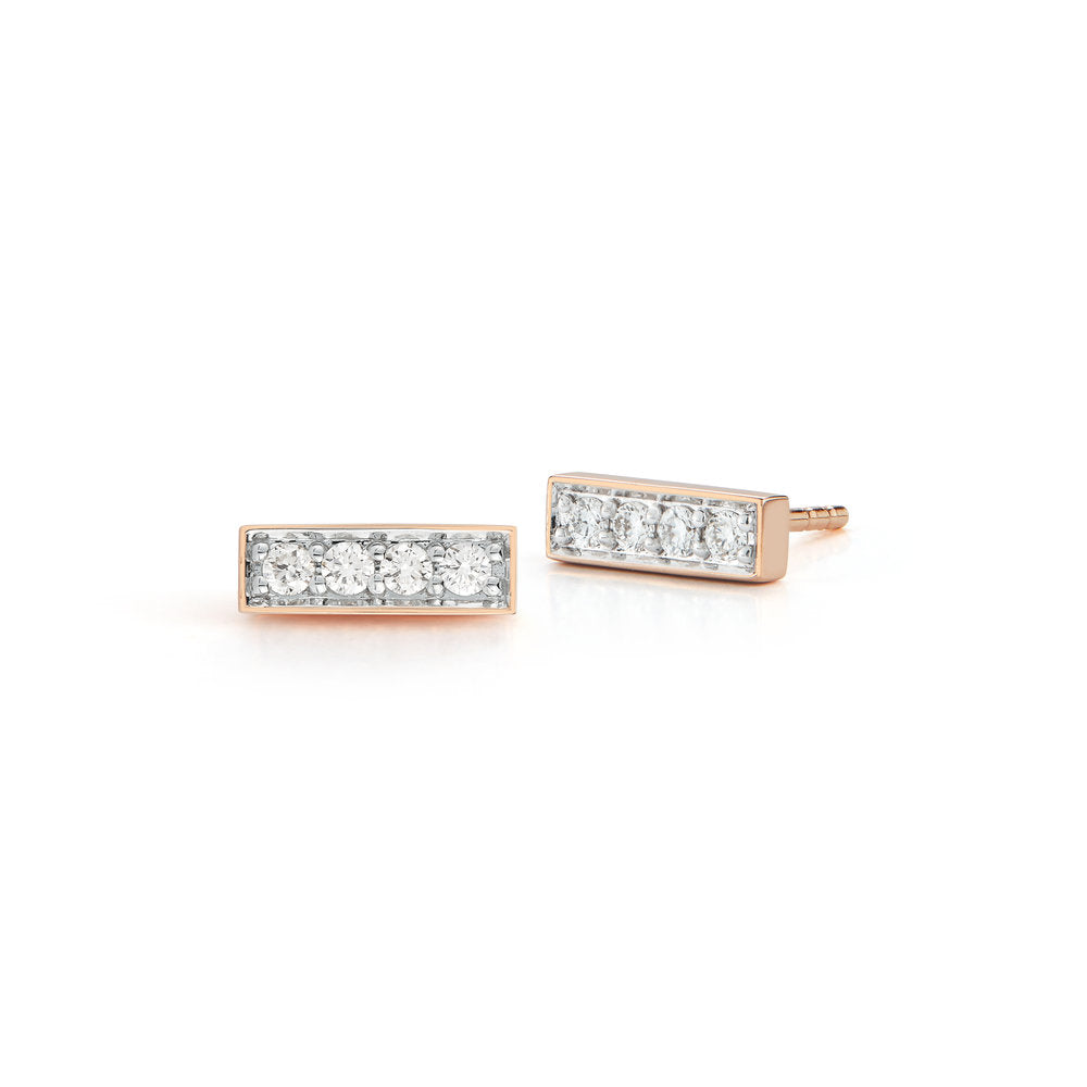 GRANT 18K ROSE GOLD AND DIAMOND MINI BAR STUDS