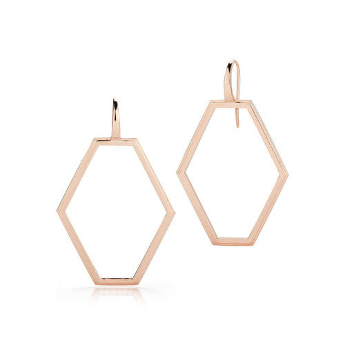 KEYNES 18K ROSE GOLD MEDIUM OPEN HEXAGON EARRINGS