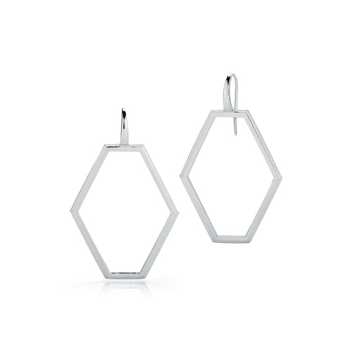 KEYNES STERLING SILVER MEDIUM OPEN HEXAGON EARRINGS