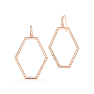 KEYNES 18K GOLD MEDIUM OPEN HEXAGON DIAMOND EARRINGS