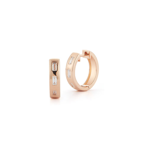 OTTOLINE 18K ROSE GOLD DIAMOND BAGUETTE HUGGIE