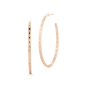 OTTOLINE 18K ROSE GOLD DIAMOND BAGUETTE OVAL HOOP EARRING