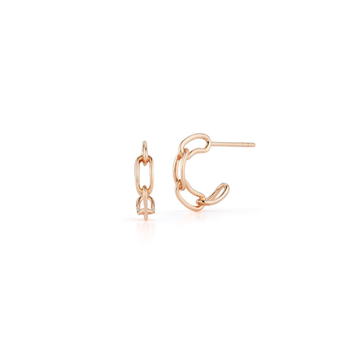 SAXON 18K ROSE GOLD CHAIN LINK HUGGIE