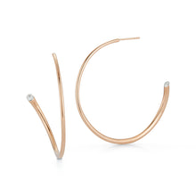 THOBY 18K ROSE GOLD AND SINGLE DIAMOND TUBULAR HOOP EARRING