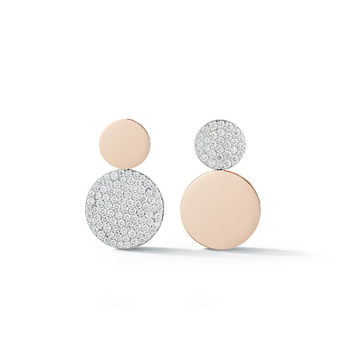 LYTTON 18K ROSE GOLD MIX MATCHED DIAMOND DISC EARRINGS