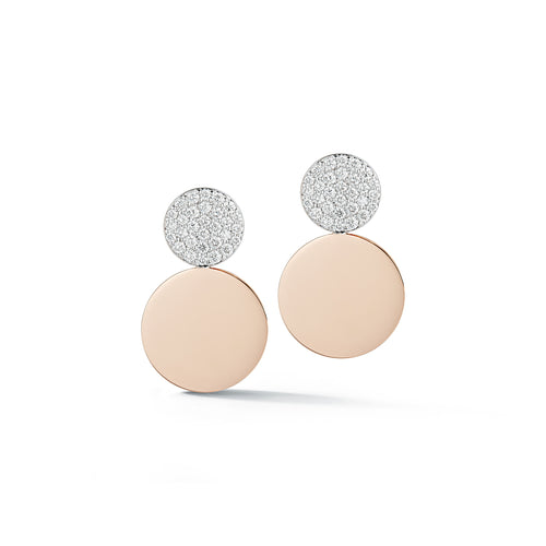 LYTTON 18K ROSE GOLD AND TOP DIAMOND DISC EARRINGS
