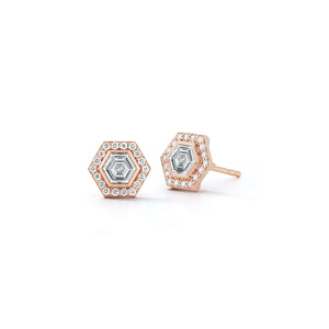 KEYNES ONE OF A KIND 18K ROSE GOLD DIAMOND HEXAGON STUD EARRINGS