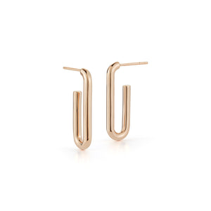 SAXON 18K ROSE GOLD ELONGATED SINGLE CHAIN LINK EARRING