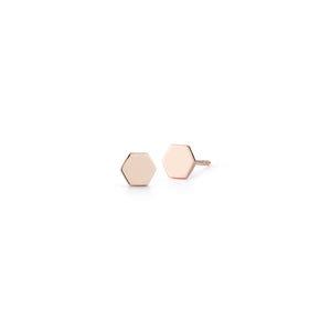 DORA 18K ROSE GOLD MINI HEXAGON STUD EARRING