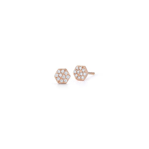 DORA 18K ROSE GOLD AND DIAMOND MINI HEXAGON STUD EARRING
