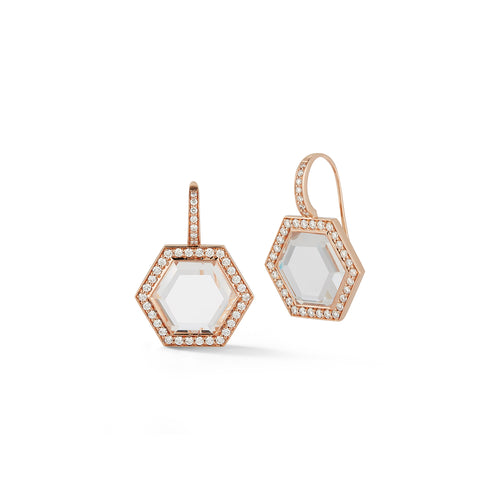 BELL 18K ROSE GOLD, DIAMOND, AND ROCK CRYSTAL HEXAGON DROP EARRINGS