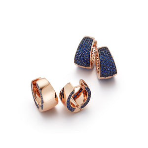 LYTTON 18K ROSE GOLD HOOP WITH WITH BLUE SAPPHIRE EDGE EARRING